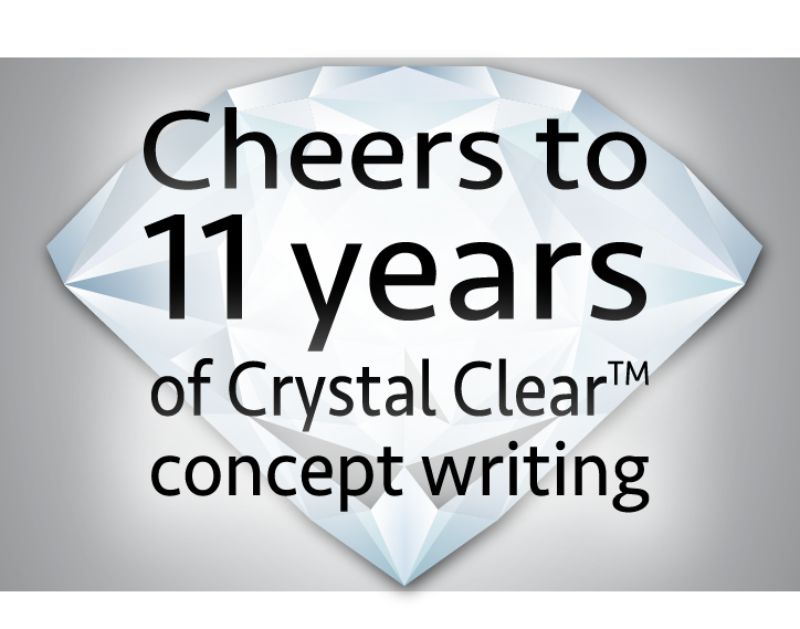"""Image of a crystal with the words, """"Cheers to 11 years of Crystal Clear concept writing"""" overtop"""