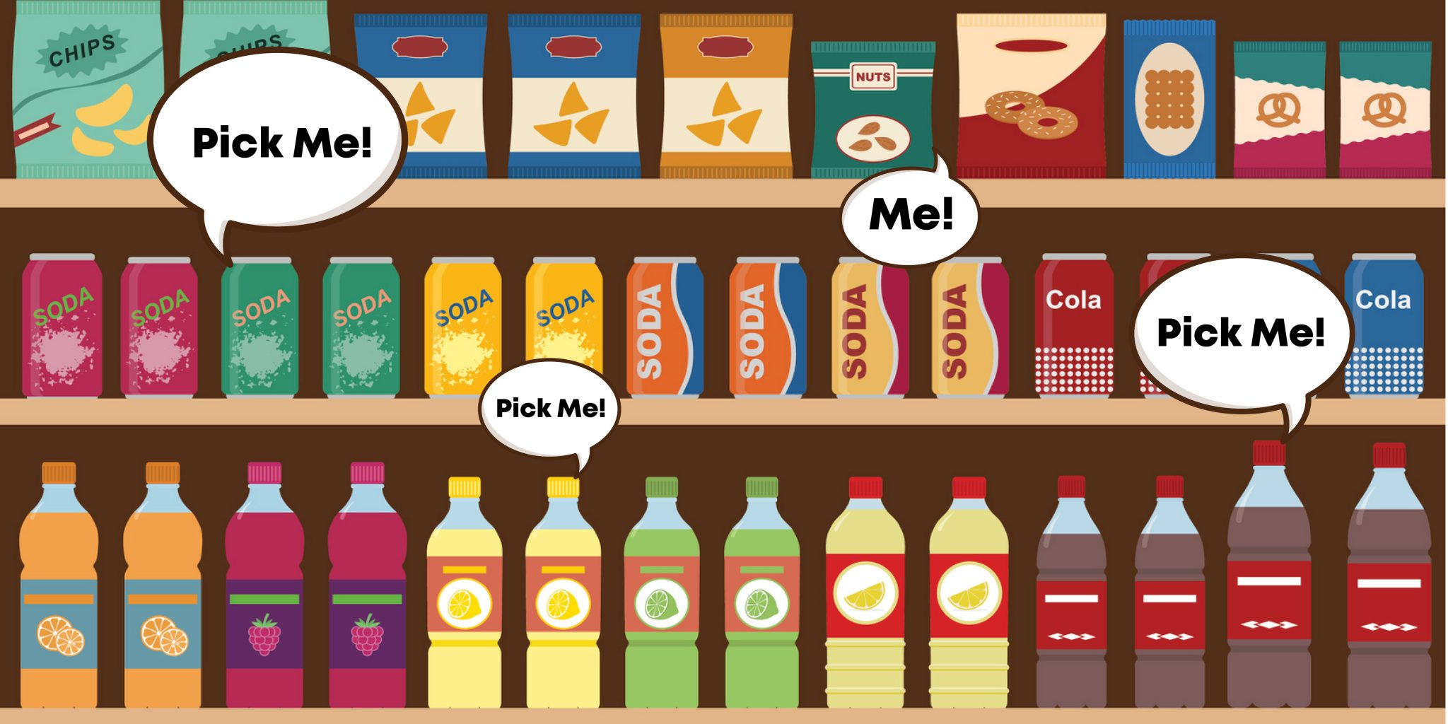 "Image of products on a shelf with several, ""Pick me!"" thought/speech bubbles coming from various products"