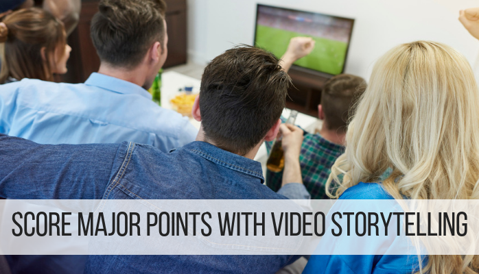 "Image of football fans in a living room cheering around a TV; text that says, ""Score major points with video storytelling"""