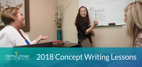Three concept writing lessons we learned in 2018 at Writing by Design
